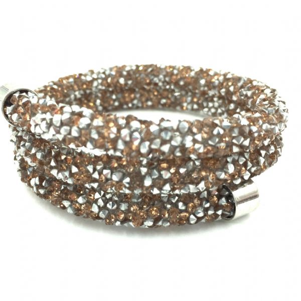 Double sparkle dust cuff bracelet - rose gold - silver